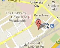 Map showing location of ITMAT in University City, Philadelphia